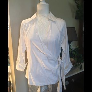 NWT Coldwater Creek embroidered wrap shirt
